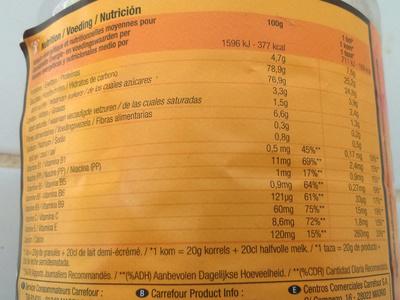 Préparation pour boisson instantanée Goût Choco - Nutrition facts - fr