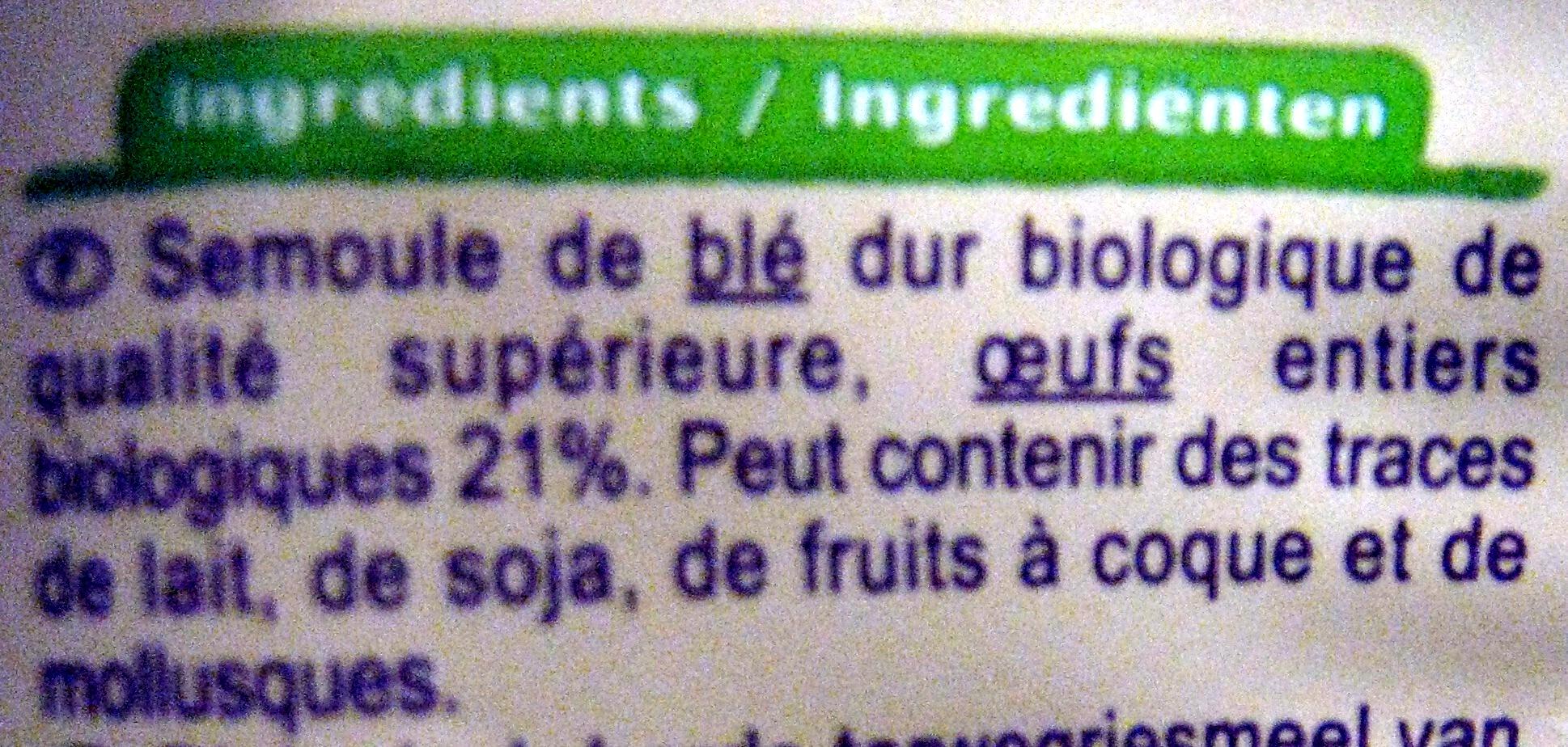 Tagliatelles aux œufs Bio - Ingrédients