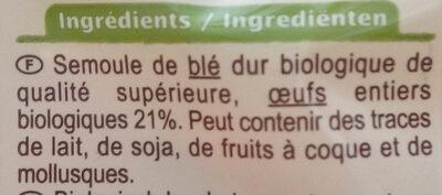 Tagliatelles aux œufs Bio - Ingrédients - fr