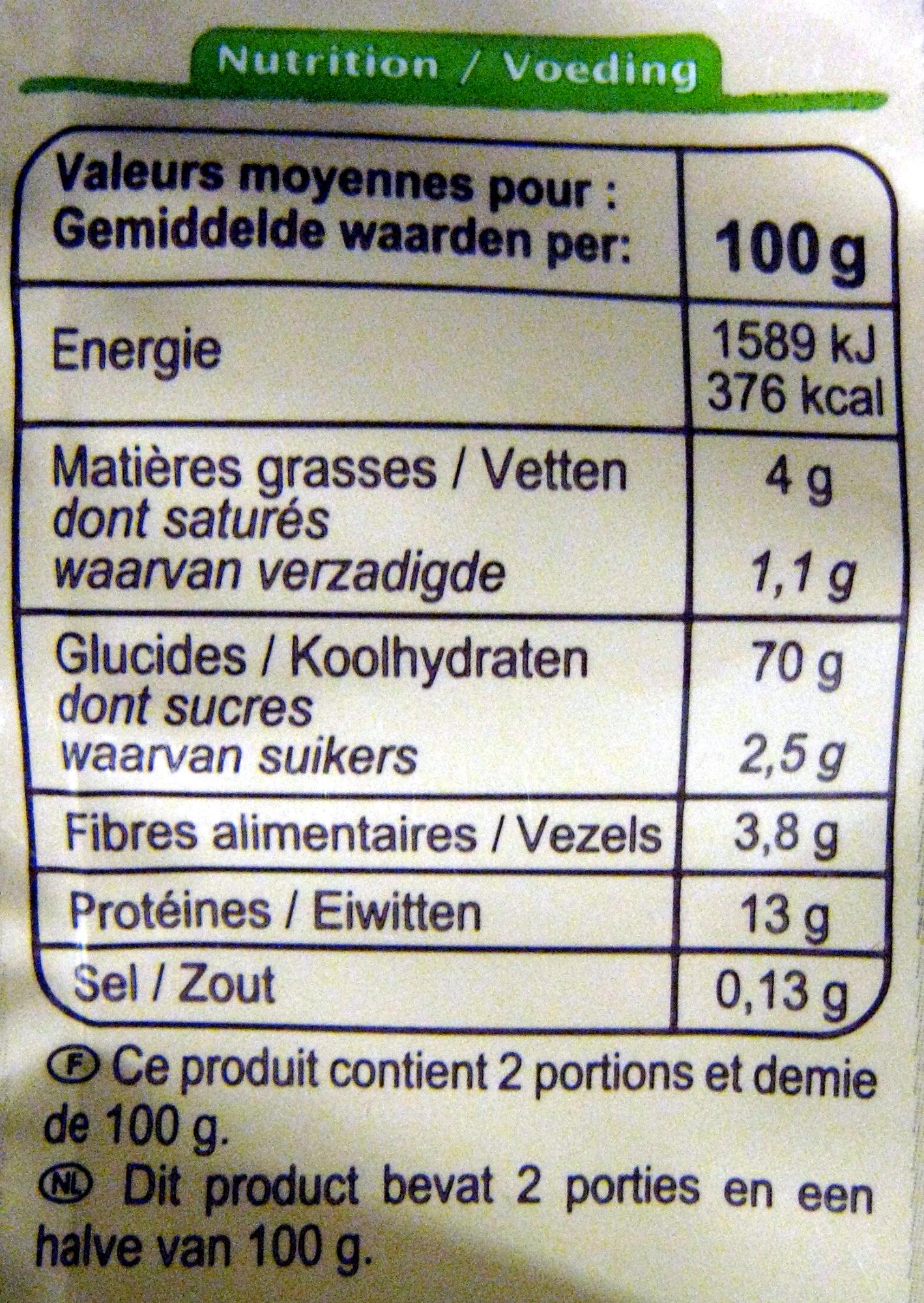 Tagliatelles aux œufs Bio - Informations nutritionnelles