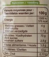 Tagliatelles aux œufs Bio - Informations nutritionnelles - fr