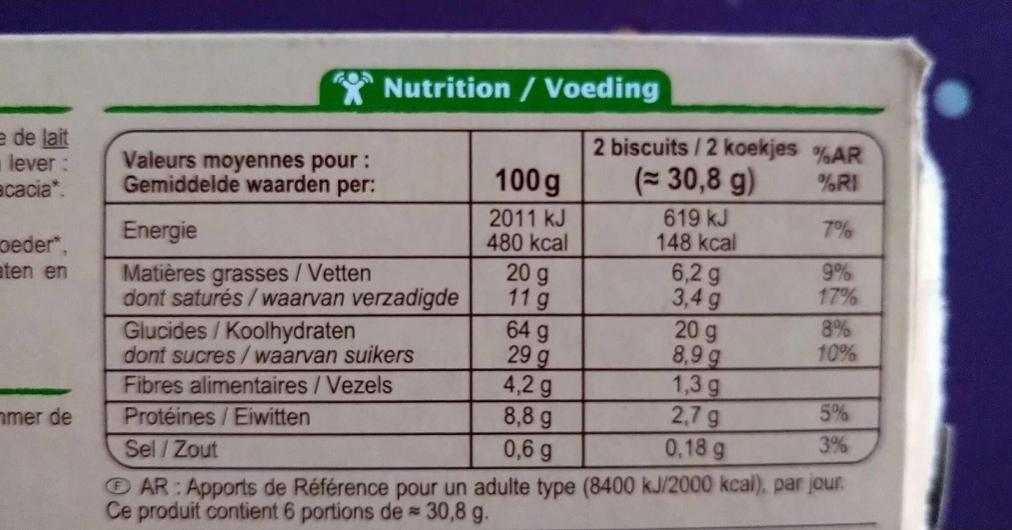 Fourrés au cacao - Informations nutritionnelles - fr