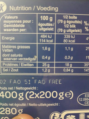 Thon albacoreEn tranches - Nutrition facts