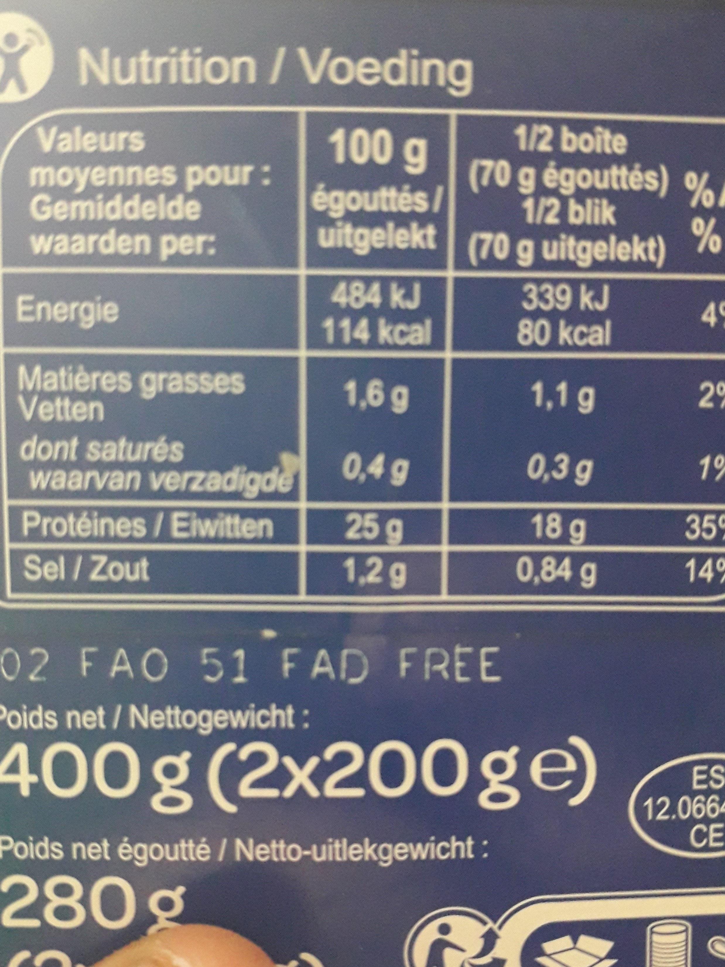Thon albacore En tranches - Valori nutrizionali - fr