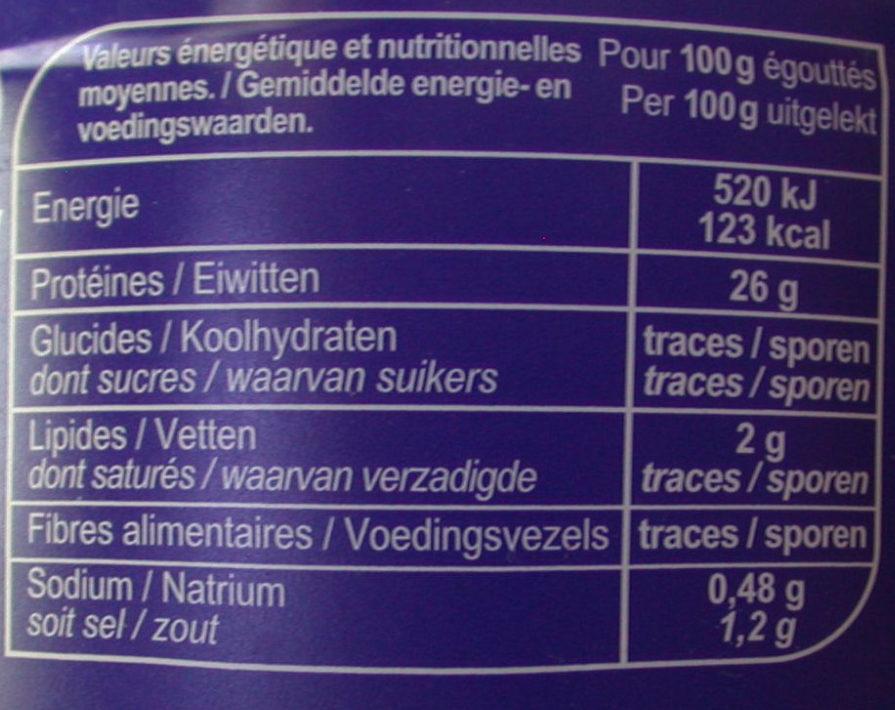 Thon albacore En tranches - Nutrition facts - fr