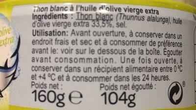 Thon blanc - Ingrédients