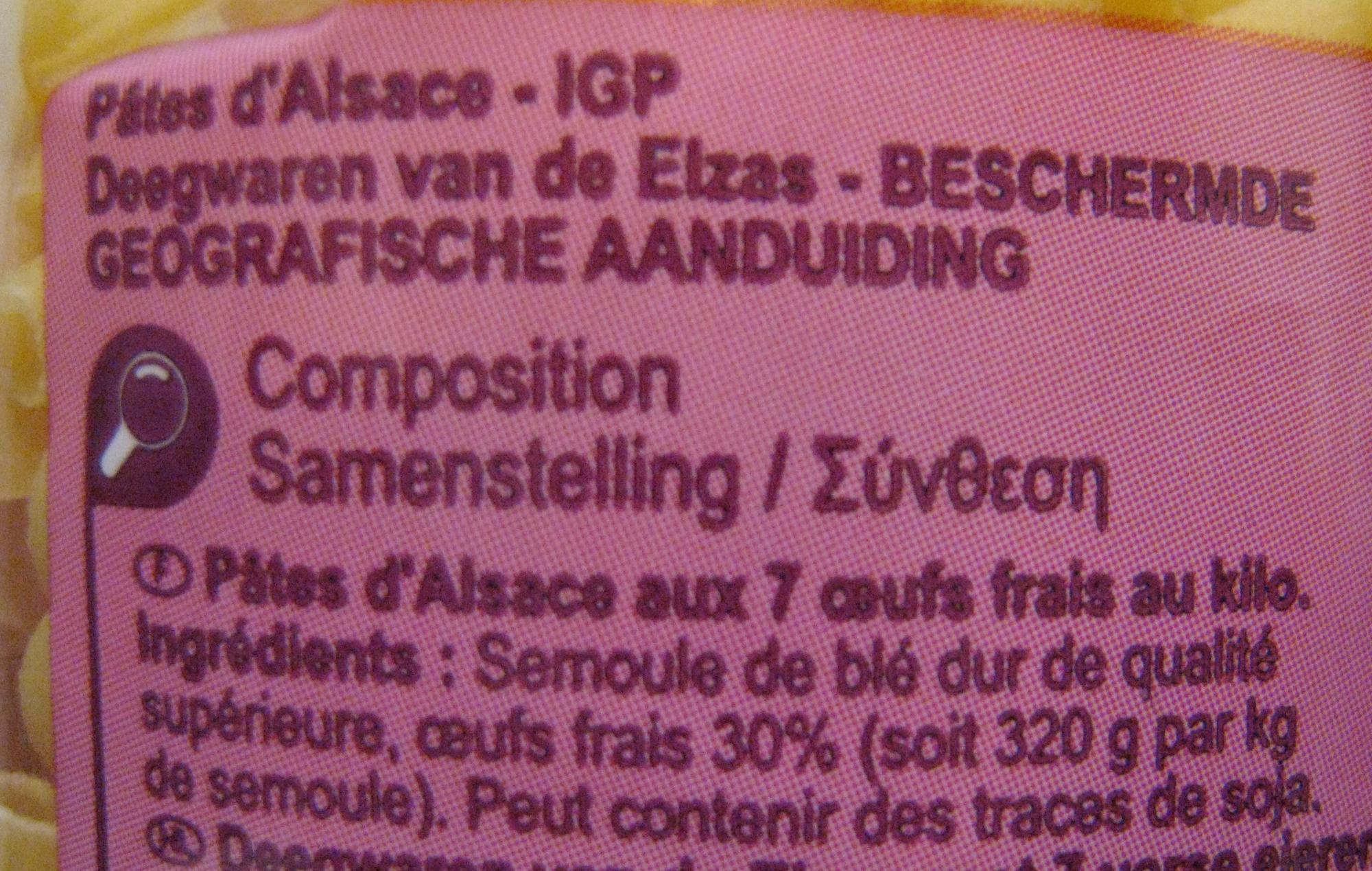 Macaroni Pâtes d'Alsace - Ingrédients