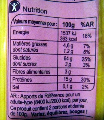 Spaghetti Pâtes d'Alsace - Informations nutritionnelles