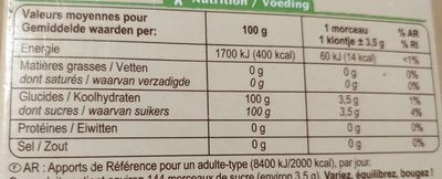 Sucre Blond de canne Morceaux - Informations nutritionnelles - fr