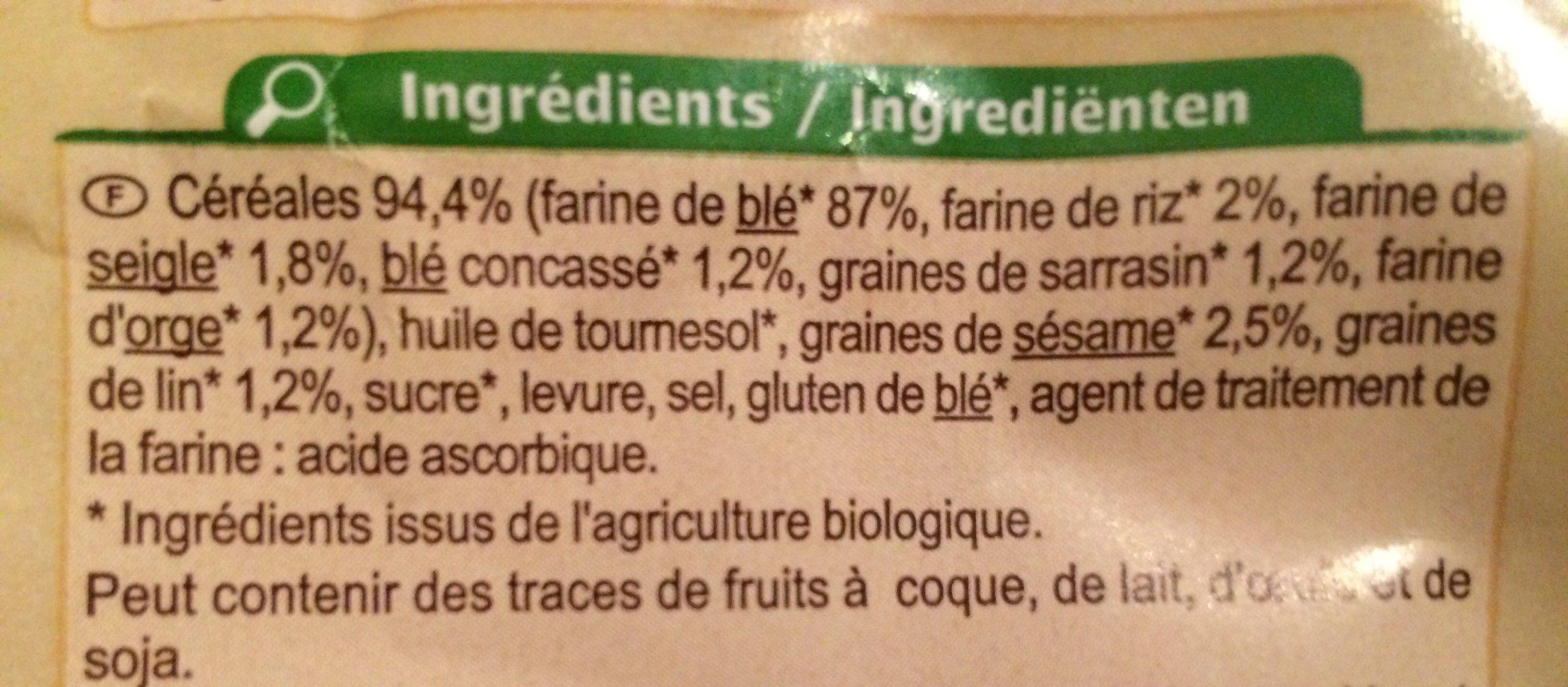 Petits pains grillés aux céréales biologiques - Ingrédients