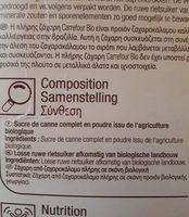 Sucre de canne bio complet en poudre - Ingredients