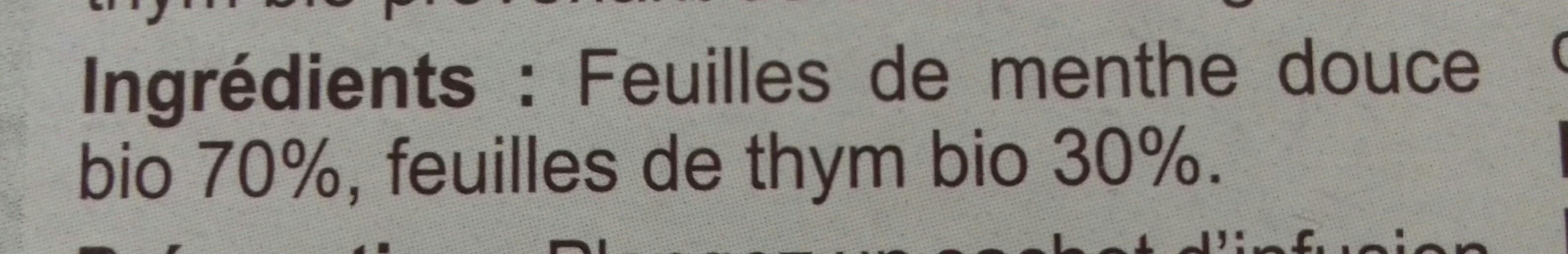 Infusion Menthe douce et thym Bio Carrefour - Voedingswaarden - fr