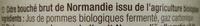 Cidre bouché de Normandie IGP Brut (4,5 % vol.) Bio - Ingrédients