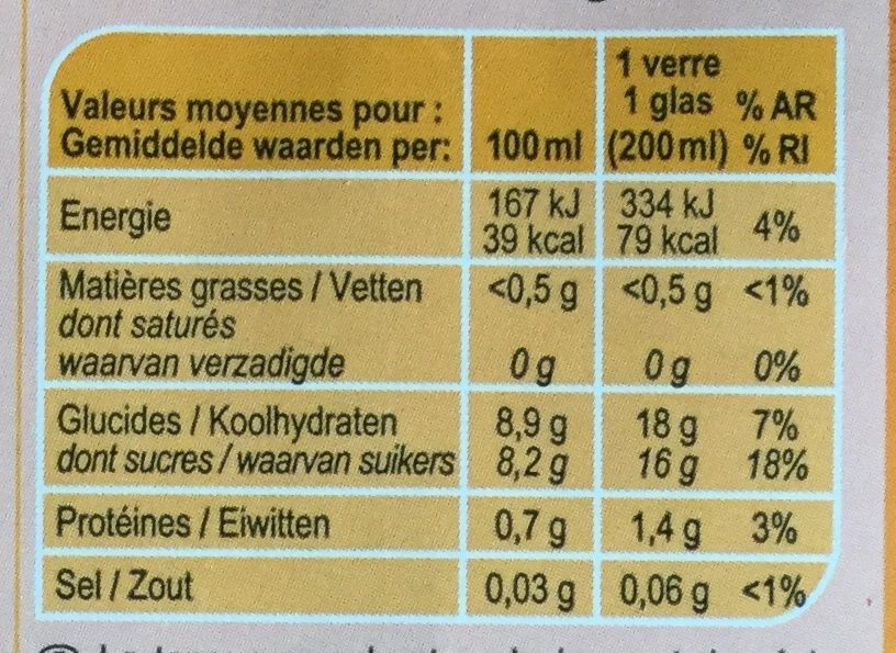 Jus d'Orange à base de concentré - Informations nutritionnelles