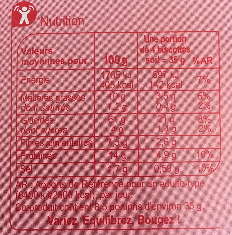 Biscottes multicéréales - Informations nutritionnelles - fr