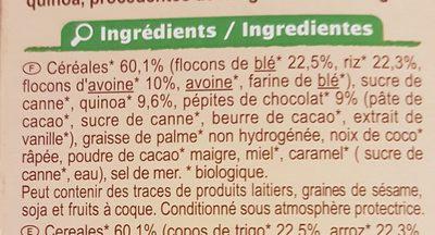 Muesli Croustillant céréales, chocolat et quinoa - Ingredients