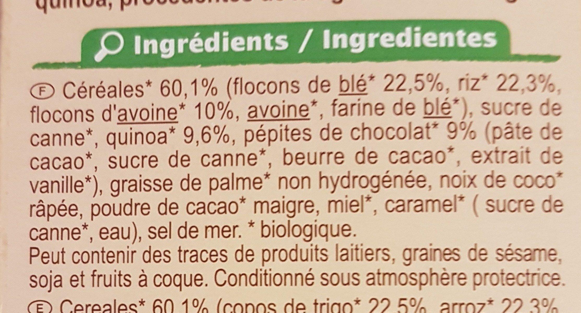 Muesli croustillant céréales, chocolat et quinoa - Ingredients - fr