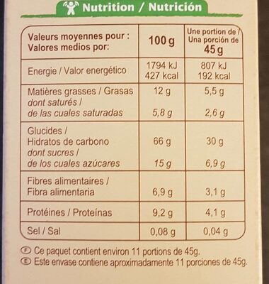 Muesli Croustillant céréales, chocolat et quinoa - Información nutricional - fr