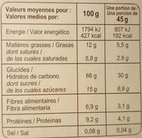 Muesli Croustillant céréales, chocolat et quinoa - Información nutricional