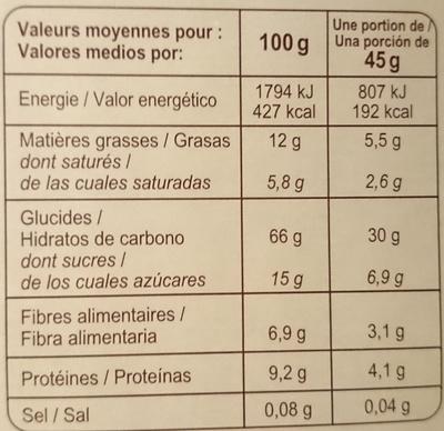 Muesli croustillant céréales, chocolat et quinoa - Nutrition facts - fr