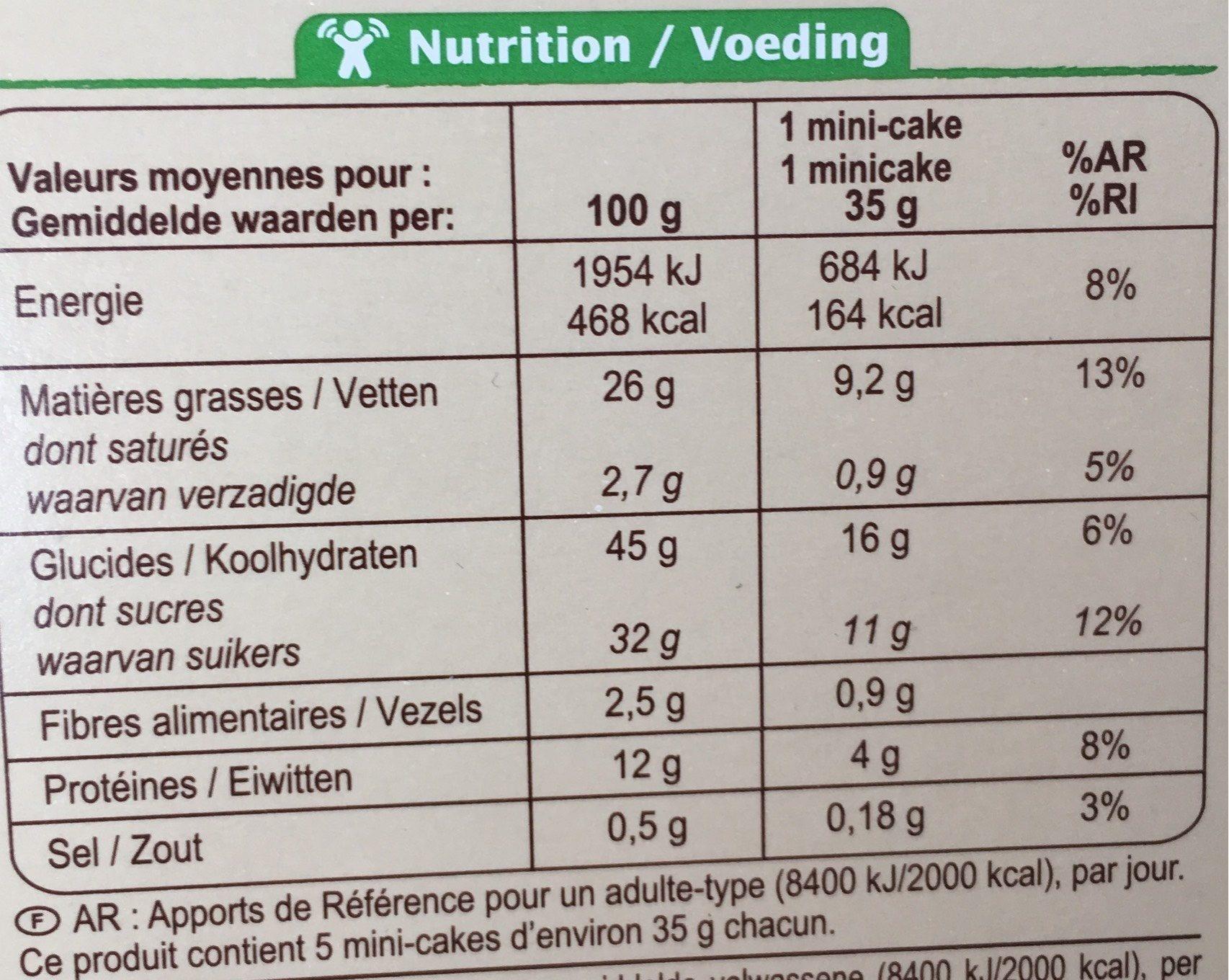 5 mini-cakes aux pépites de chocolat Bio - Nutrition facts