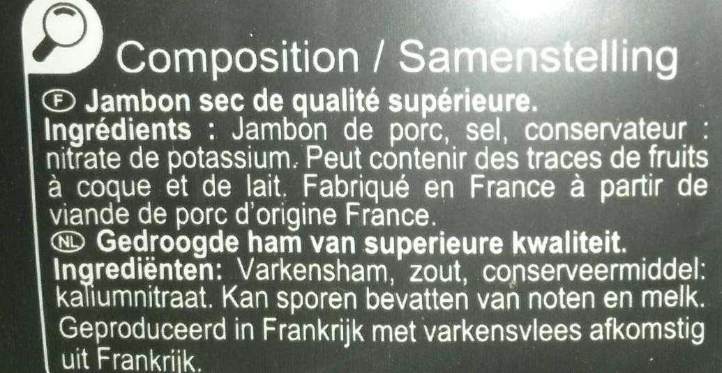 Jambon sec Qualité supérieure - Ingrédients
