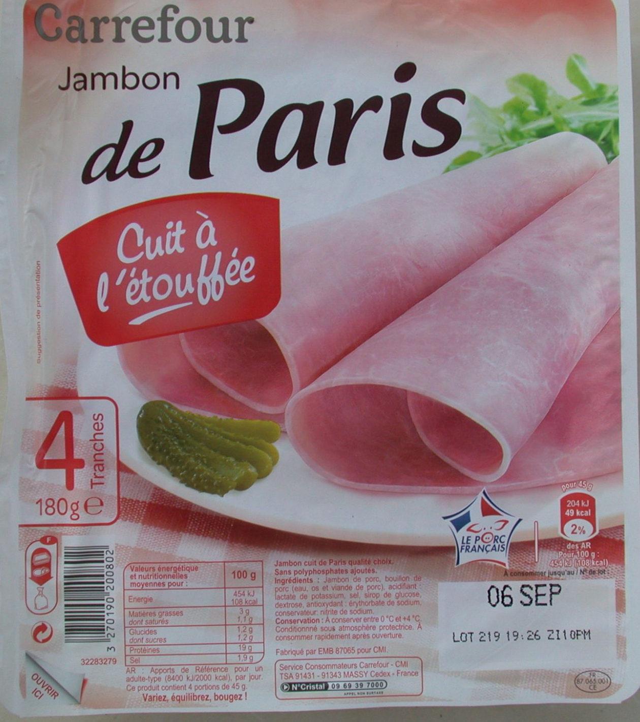Jambon de Paris, Cuit à l'étouffée (4 Tranches) - Product - fr