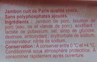 Jambon de Paris, Cuit à l'étouffée (4 Tranches) - Ingrediënten - fr