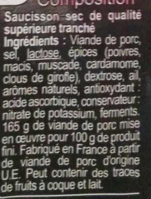Saucisson sec - Ingrédients - fr