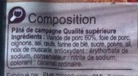 Pâté de campagne - Ingrédients - fr