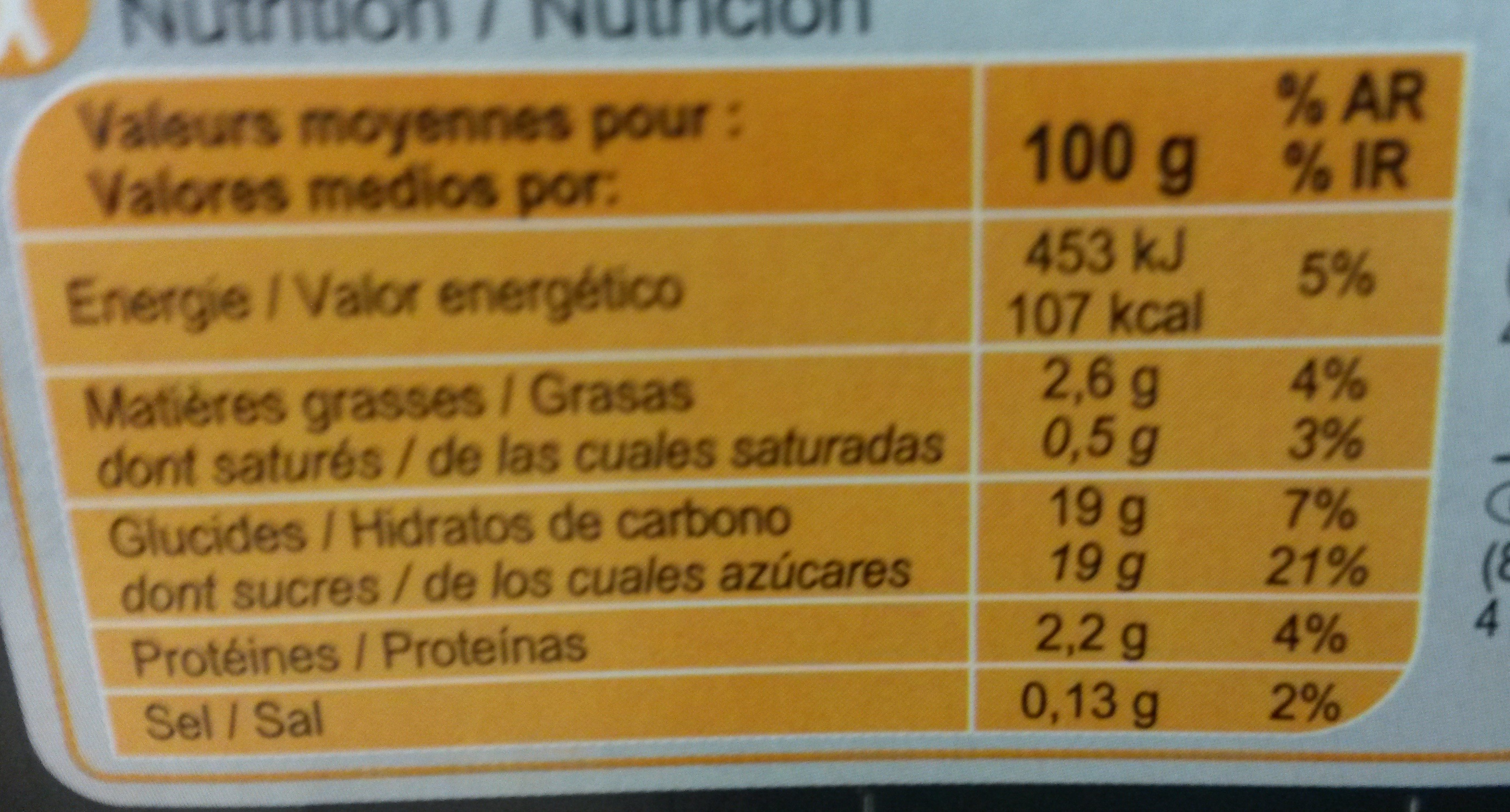 L'île flottante - Informations nutritionnelles - fr
