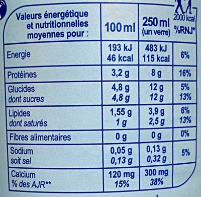 Lait de Montagne Demi-écrémé stérilisé UHT - Nutrition facts