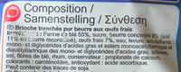 Brioche tranchée Pur Beurre (18 tranches) 500 g - Ingrédients