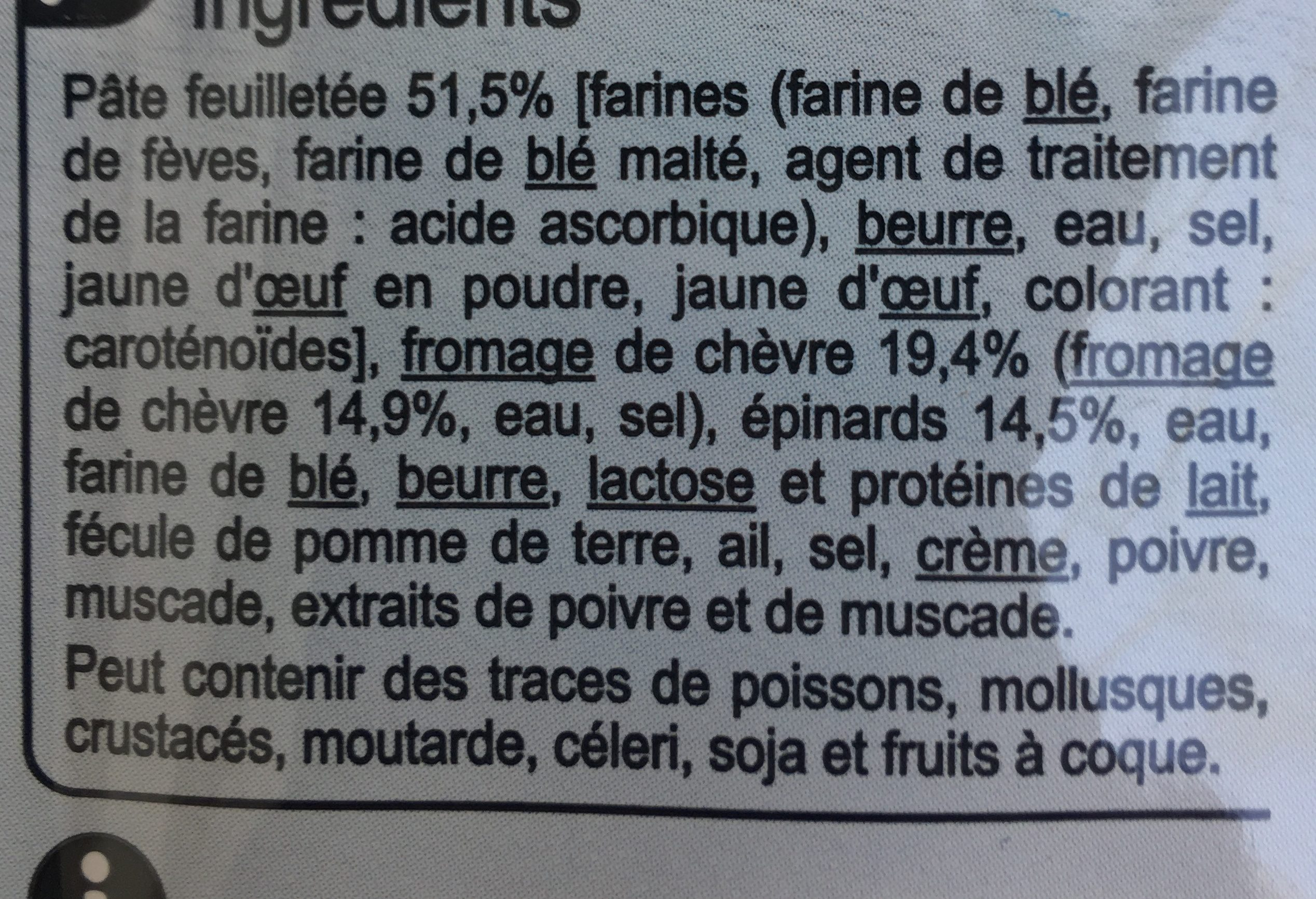 Feuilletés Chèvre Epinards - Ingrédients - fr