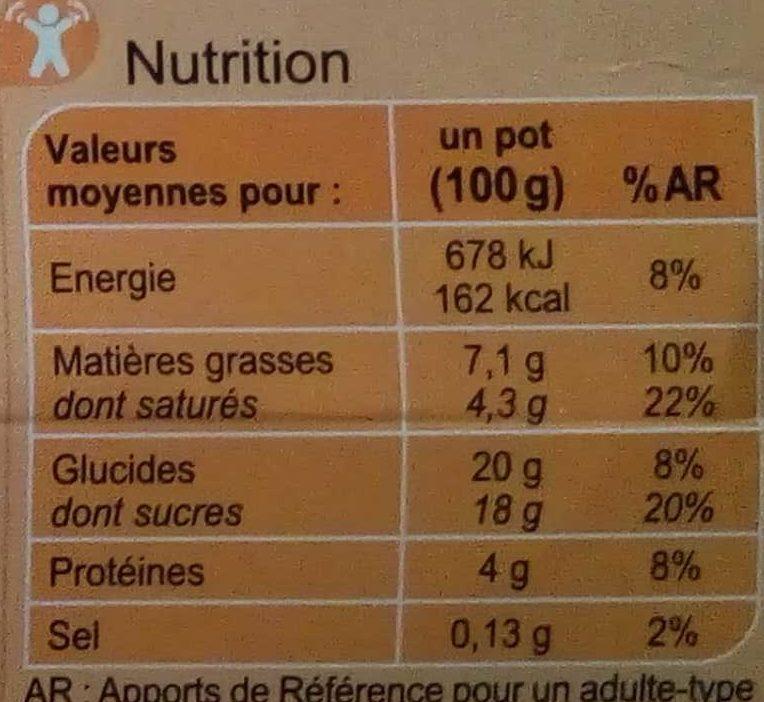 Crème aux œufs sur lit à la pomme caramélisée - Nutrition facts