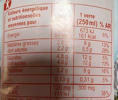 Lait de Montagne Entier - Nutrition facts - fr