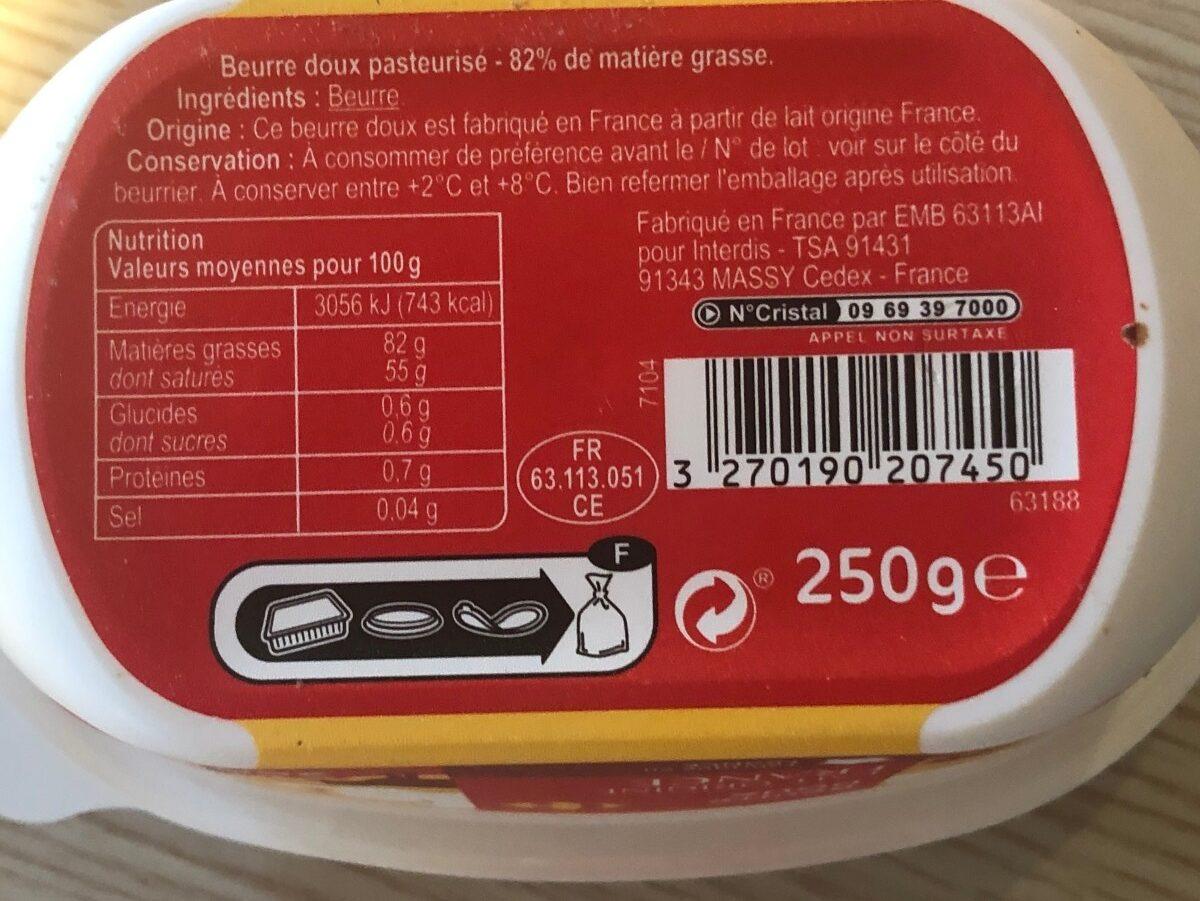 Beurre doux - Ingrédients - fr