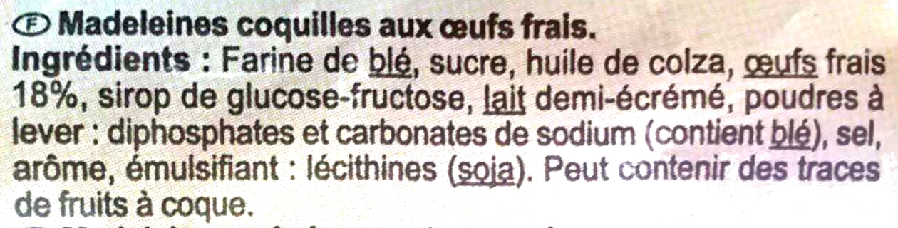 Madeleines coquilles - Ingrédients - fr