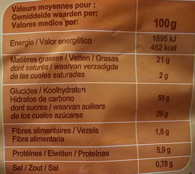 Madeleines coquilles - Informations nutritionnelles - fr
