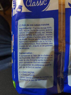 Pain de mie grandes tranches - Ingredients - fr