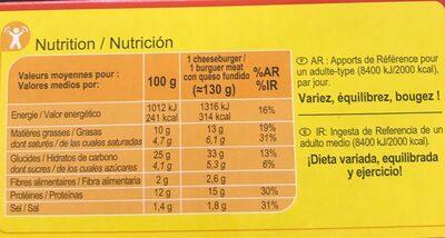 Cheeseburgers - Voedingswaarden - fr