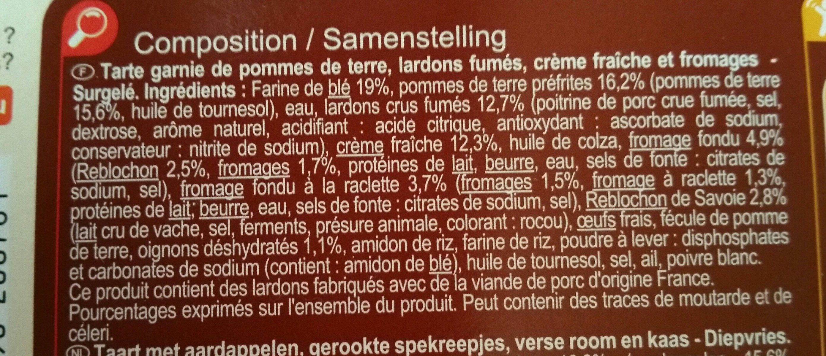 Tarte Tartiflette 400 Grammes - Ingrédients - fr