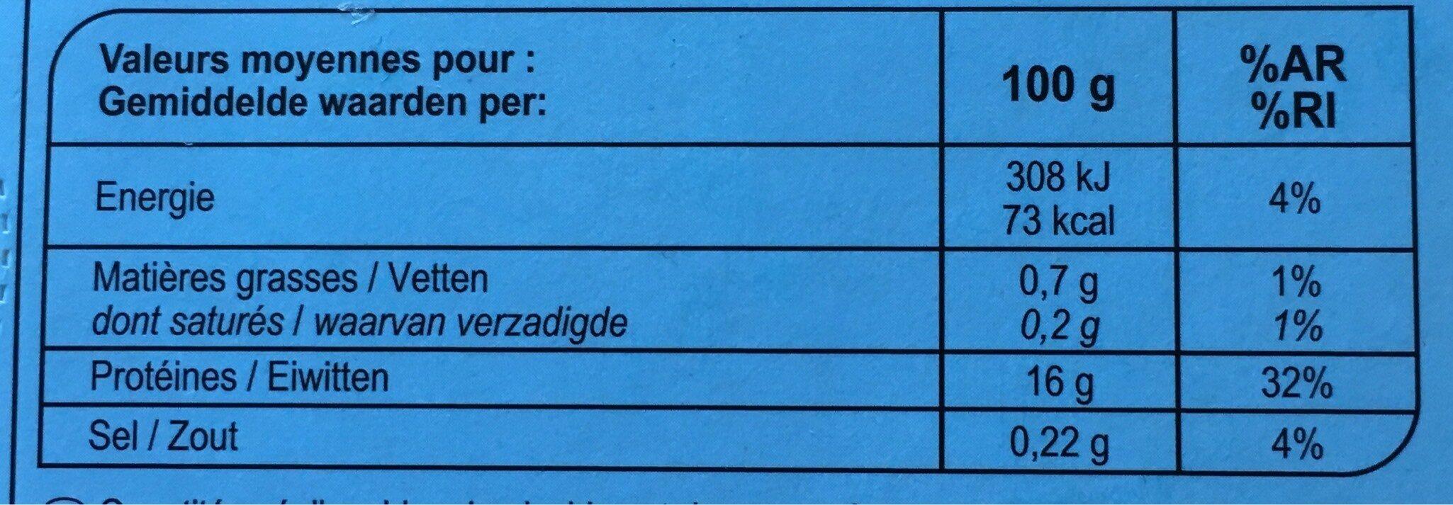 Filets de Colin - Voedingswaarden - fr