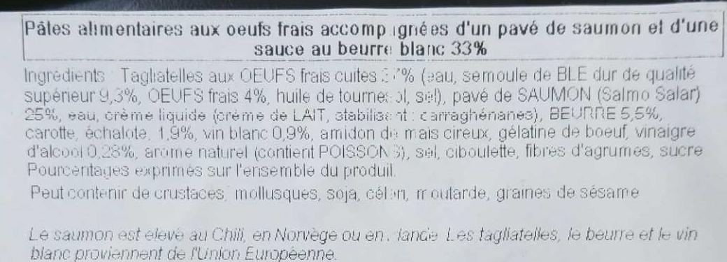 Pavé de Saumon et Tagliatelles - Ingrediënten - fr