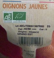 Oignons jaunes Bio Carrefour - Ingrediënten - fr