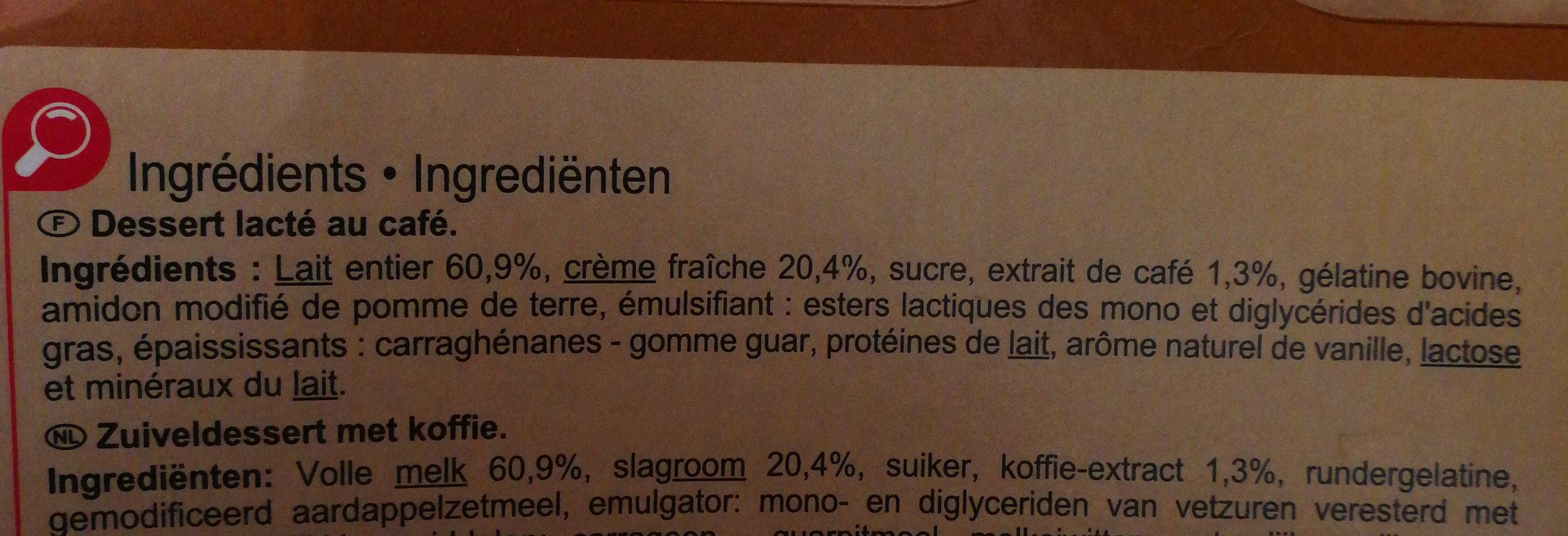 Mousse liégeoise à la crème fraîche Café - Ingredients - fr