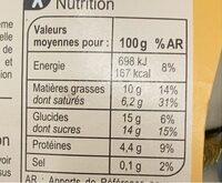 Nos petits pots de crème Saveur Vanille - Informations nutritionnelles - fr