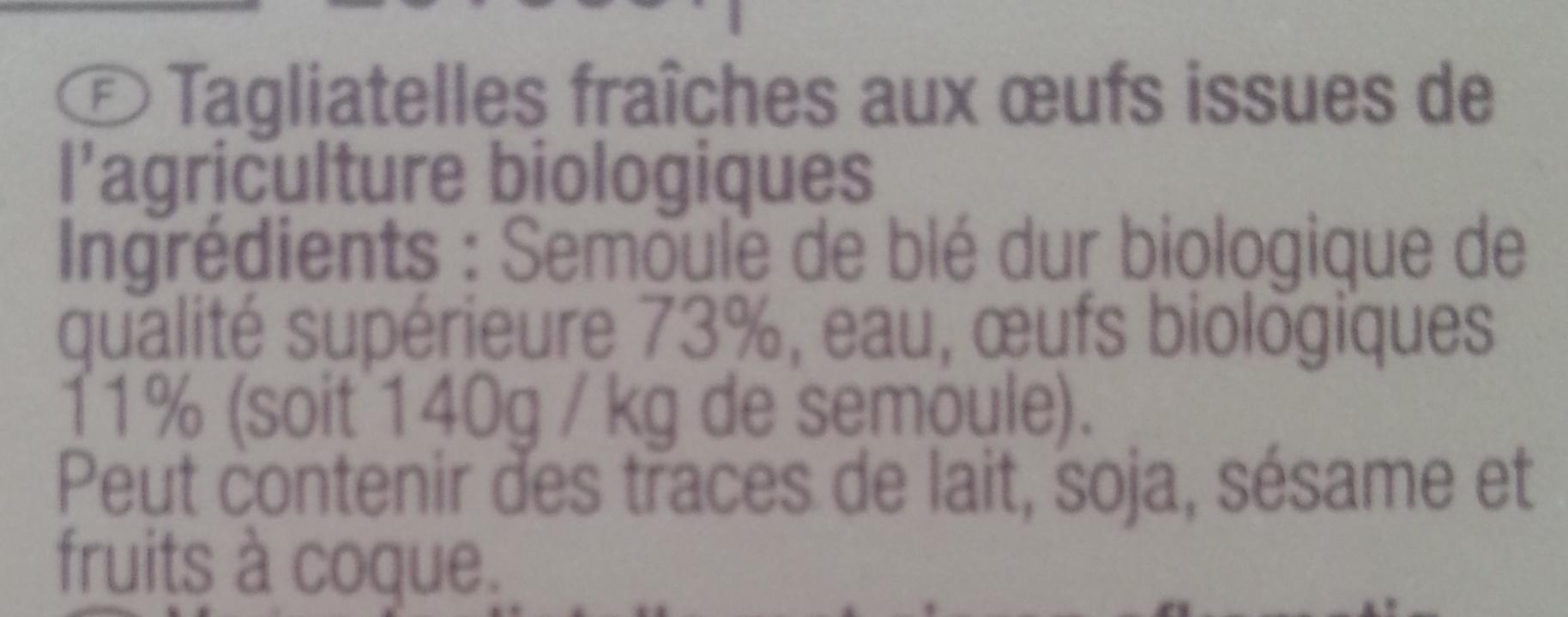 Tagliatelles Bio - Ingredients