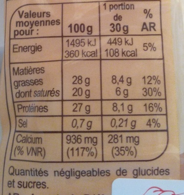 Emmental Bloque - Información nutricional