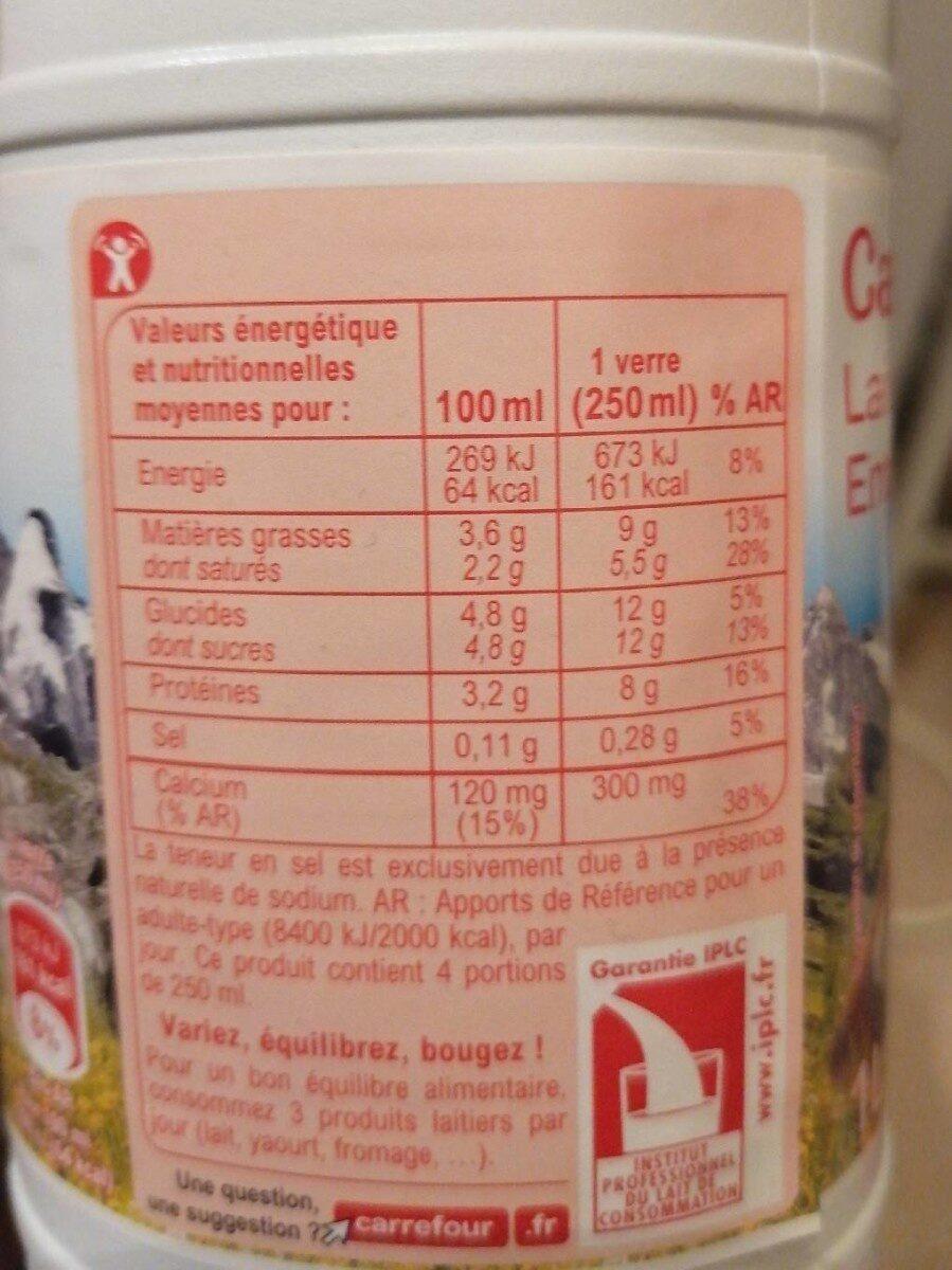 Lait de montagne entier - Informations nutritionnelles - fr